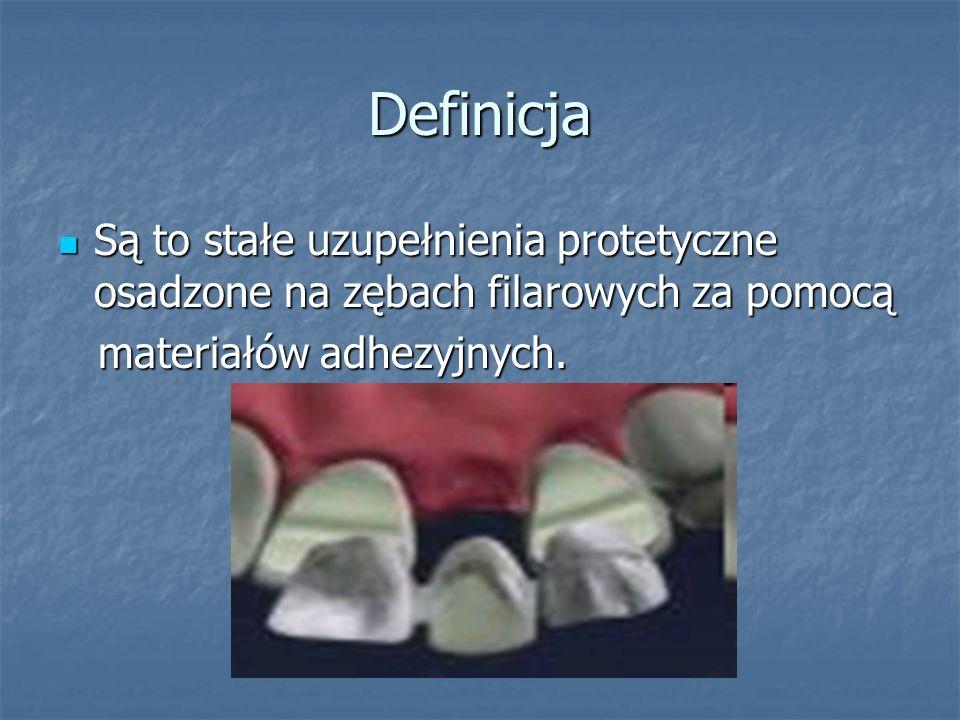 Wskazania Niezbyt rozległe braki zębowe Niezbyt rozległe braki zębowe Rozbudowane powierzchnie okluzyjne Rozbudowane powierzchnie okluzyjne Jako uzupelnienia tymczasowe (na okres gojenia po sterowanej regeneracji kości lub/i osteointegracji po wprowadzeniu wszczepów filarowych) Jako uzupelnienia tymczasowe (na okres gojenia po sterowanej regeneracji kości lub/i osteointegracji po wprowadzeniu wszczepów filarowych)