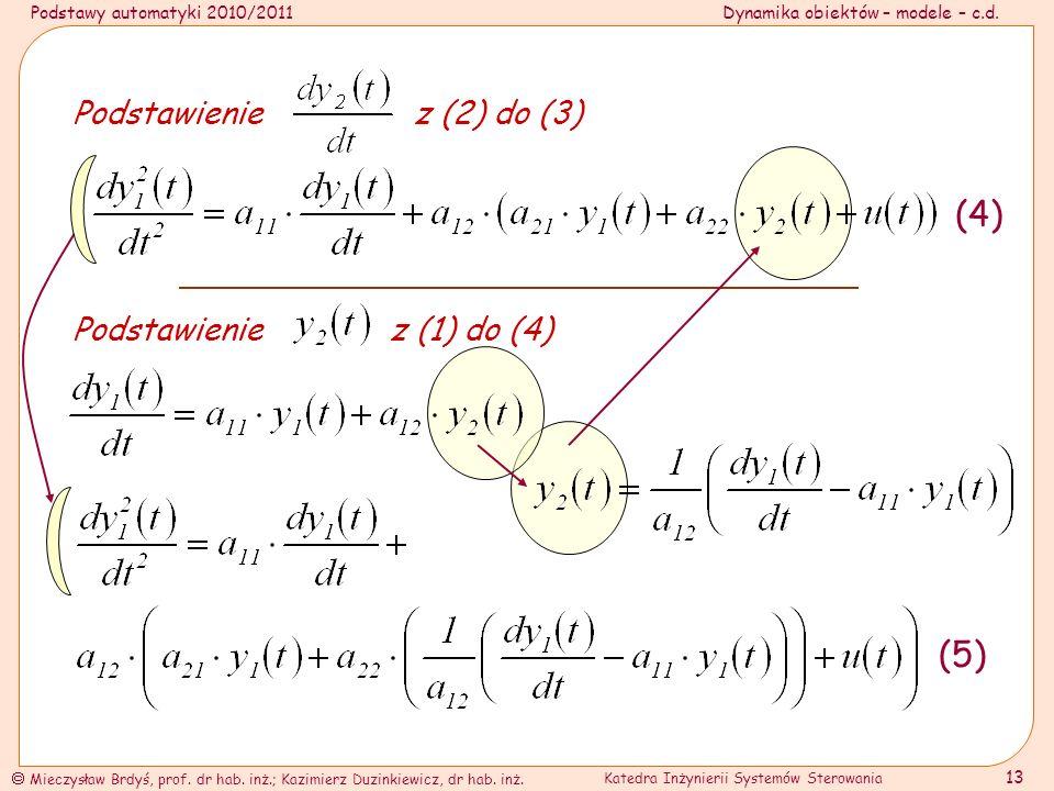 Podstawy automatyki 2010/2011Dynamika obiektów – modele – c.d.