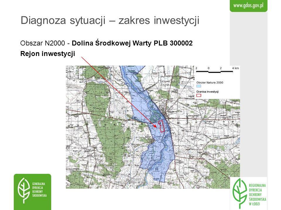 Obszar N2000 - Dolina Środkowej Warty PLB 300002 Rejon inwestycji Diagnoza sytuacji – zakres inwestycji