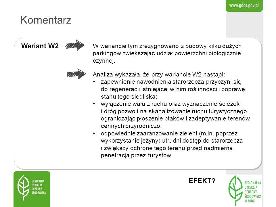 Komentarz Wariant W2 Analiza wykazała, że przy wariancie W2 nastąpi: zapewnienie nawodnienia starorzecza przyczyni się do regeneracji istniejącej w ni