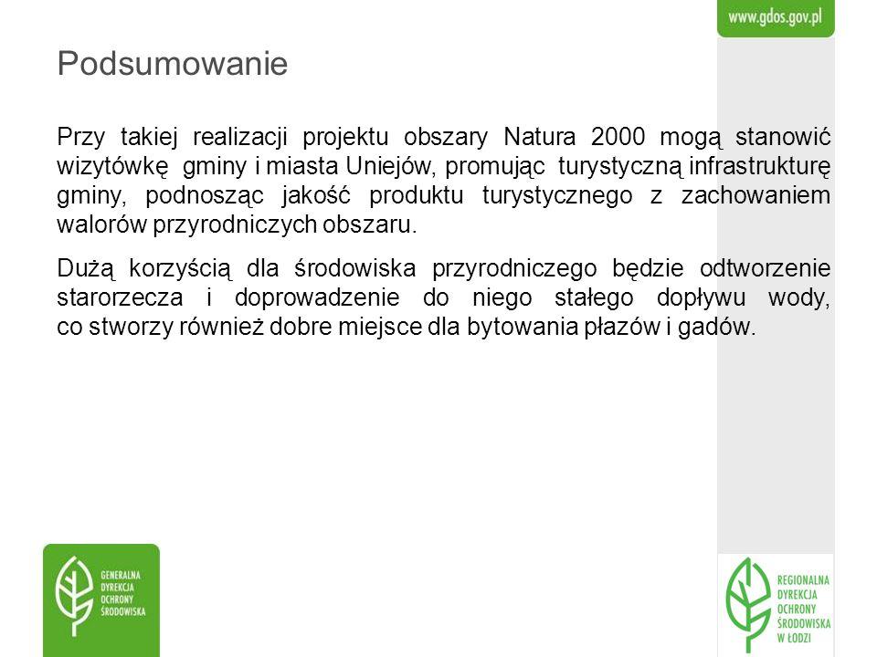 Podsumowanie Przy takiej realizacji projektu obszary Natura 2000 mogą stanowić wizytówkę gminy i miasta Uniejów, promując turystyczną infrastrukturę g
