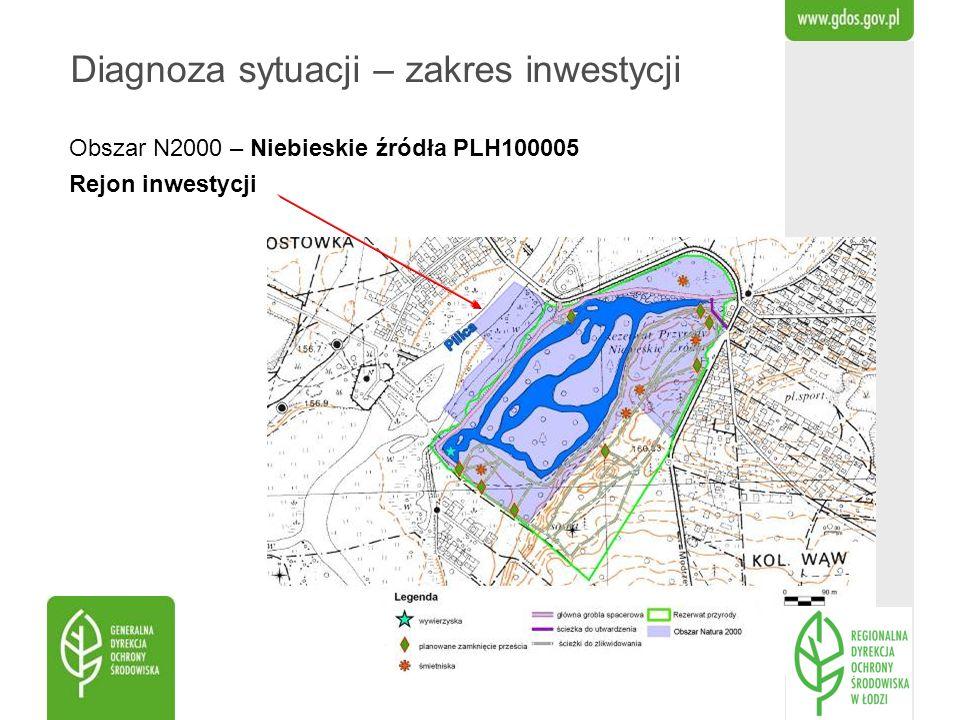 Obszar N2000 – Niebieskie źródła PLH100005 Rejon inwestycji Diagnoza sytuacji – zakres inwestycji