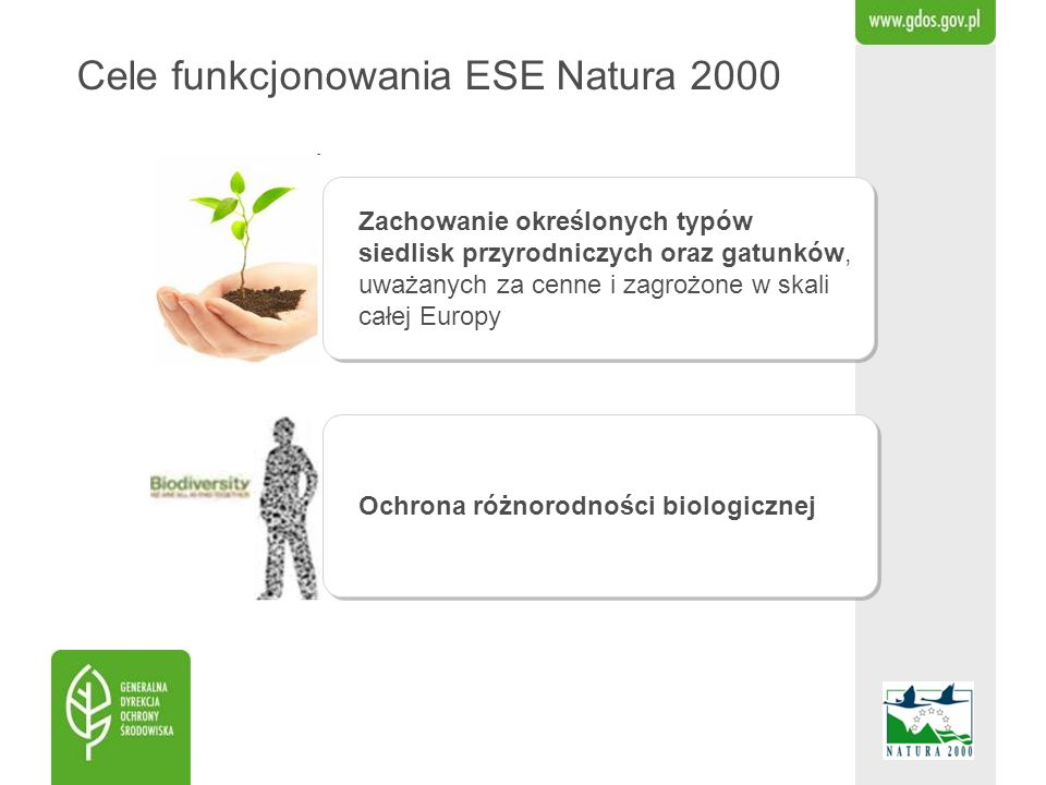 Cele funkcjonowania ESE Natura 2000 Zachowanie określonych typów siedlisk przyrodniczych oraz gatunków, uważanych za cenne i zagrożone w skali całej E