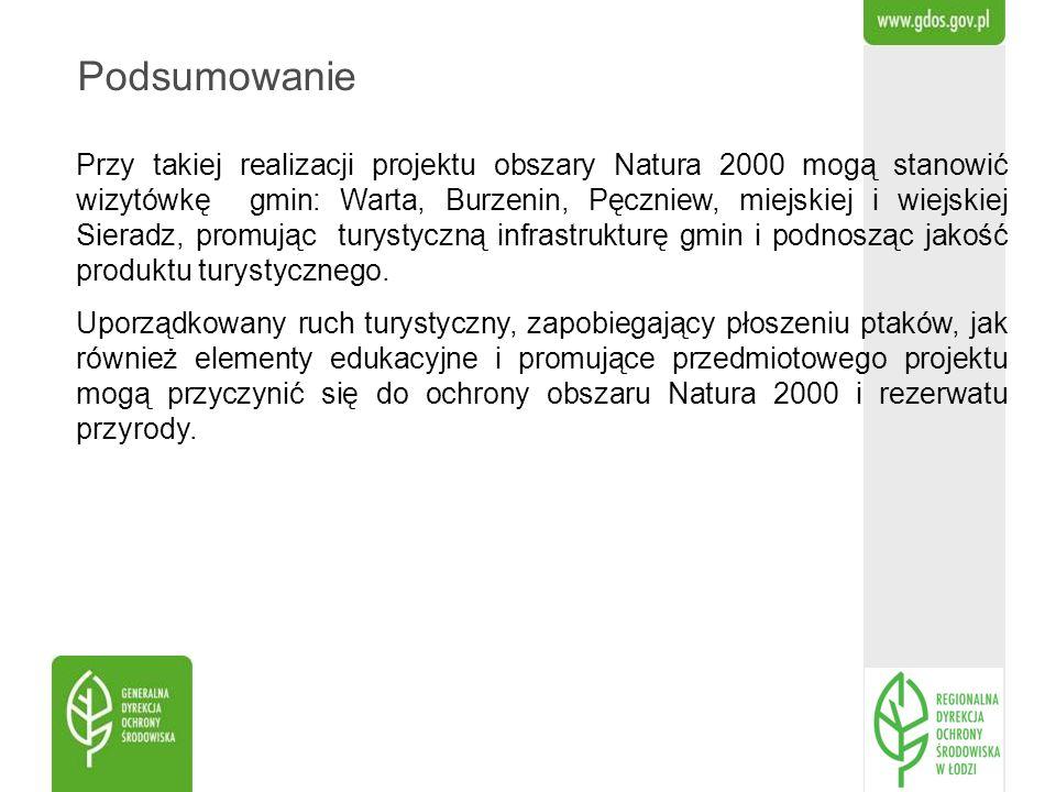 Podsumowanie Przy takiej realizacji projektu obszary Natura 2000 mogą stanowić wizytówkę gmin: Warta, Burzenin, Pęczniew, miejskiej i wiejskiej Sierad
