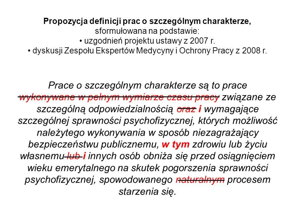 Propozycja definicji prac o szczególnym charakterze, sformułowana na podstawie: uzgodnień projektu ustawy z 2007 r. dyskusji Zespołu Ekspertów Medycyn