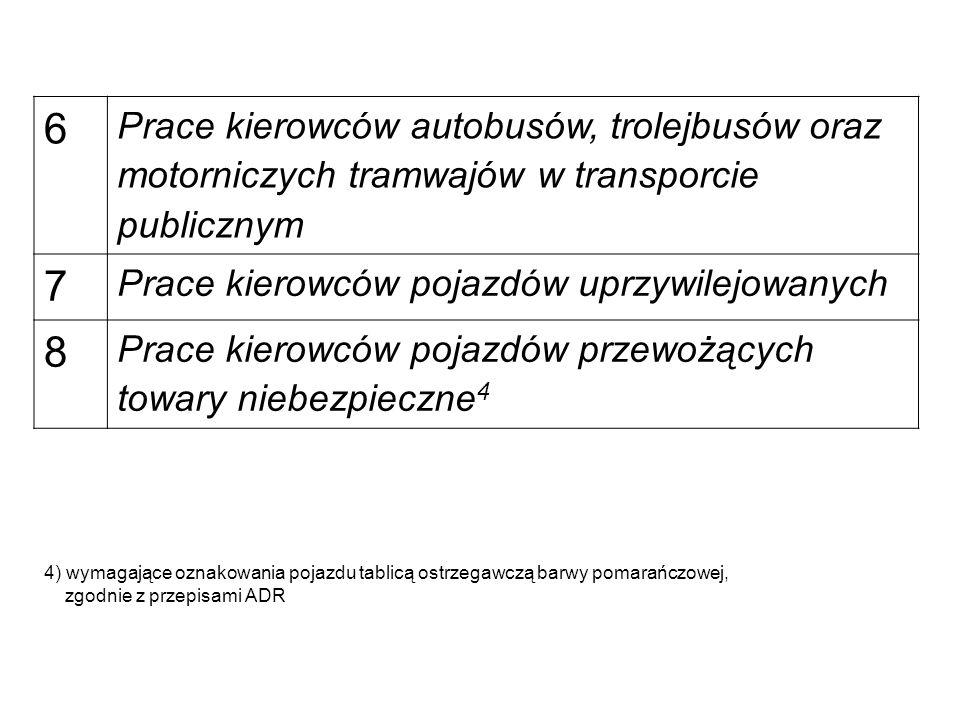 6 Prace kierowców autobusów, trolejbusów oraz motorniczych tramwajów w transporcie publicznym 7 Prace kierowców pojazdów uprzywilejowanych 8 Prace kierowców pojazdów przewożących towary niebezpieczne 4 4) wymagające oznakowania pojazdu tablicą ostrzegawczą barwy pomarańczowej, zgodnie z przepisami ADR