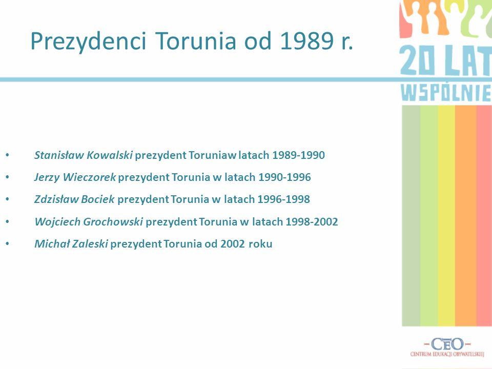 Miasto stało się centrum inwestycyjnym, naukowym i turystycznym regionu; Rozbudował się Uniwersytet Mikołaja Kopernika ; Powstały nowe uczelnie, hotele, muzea ; Pojawili się prywatni inwestorzy ; Miasto zaczęło odzyskiwać rangę poważnego ośrodka kulturalnego - okrzepły odbywające się w Toruniu międzynarodowe festiwale teatralne i filmowe ; Wzrosła rola Torunia na mapie turystycznej kraju i Europy ; W 1997 wpisano zespół Starego i Nowego Miasta oraz ruiny zamku krzyżackiego na Listę Światowego Dziedzictwa Kulturowego UNESCO Zmiany po roku 1989 :
