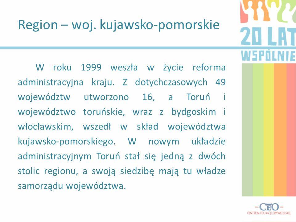 W roku 1999 weszła w życie reforma administracyjna kraju. Z dotychczasowych 49 województw utworzono 16, a Toruń i województwo toruńskie, wraz z bydgos