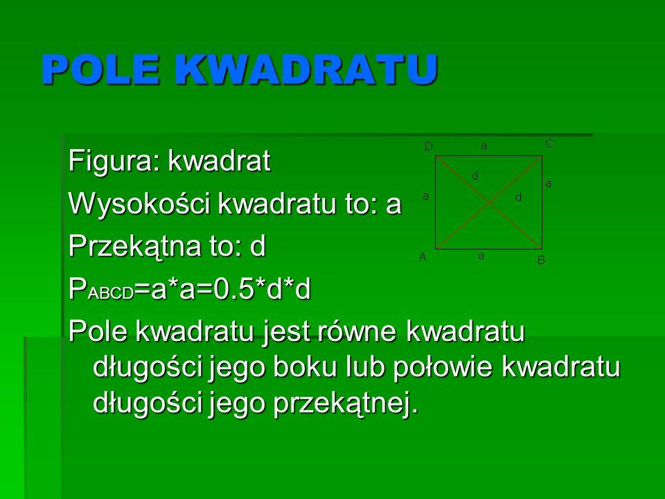 POLE KWADRATU Figura: kwadrat Wysokości kwadratu to: a Przekątna to: d P ABCD =a*a=0.5*d*d Pole kwadratu jest równe kwadratu długości jego boku lub po