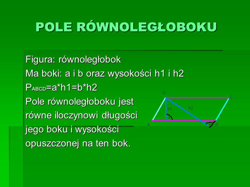 POLE RÓWNOLEGŁOBOKU POLE RÓWNOLEGŁOBOKU Figura: równoległobok Ma boki: a i b oraz wysokości h1 i h2 P ABCD =a*h1=b*h2 Pole równoległoboku jest równe i