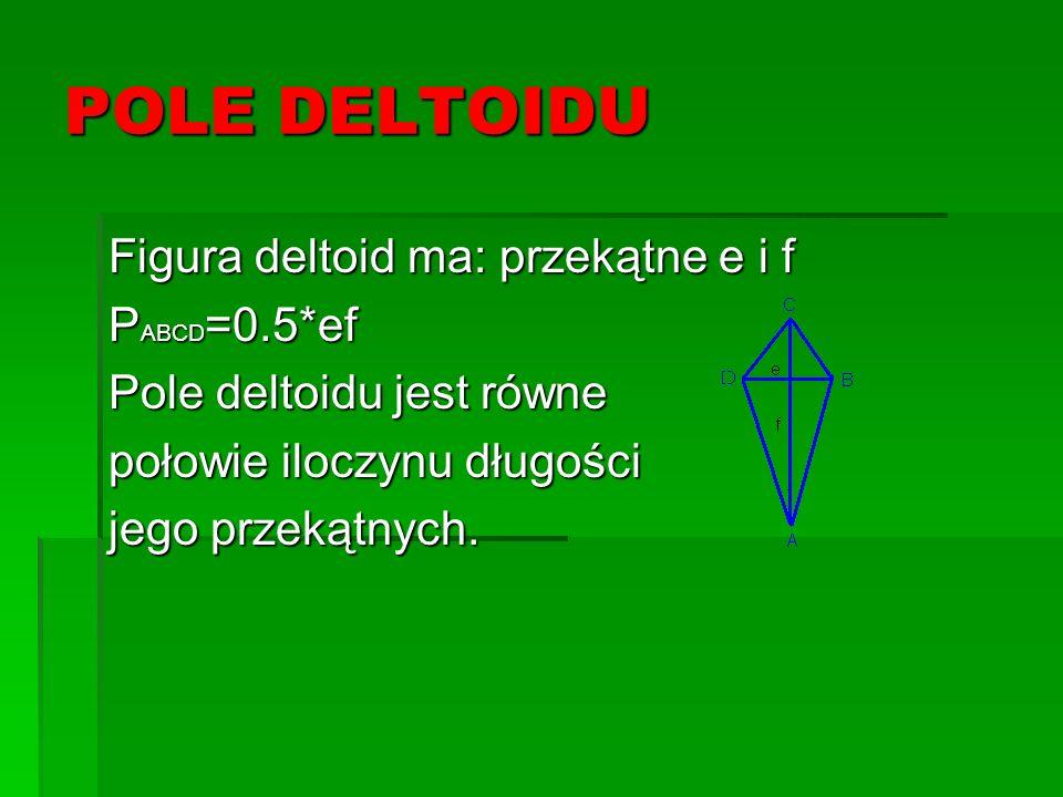 POLE DELTOIDU Figura deltoid ma: przekątne e i f P ABCD =0.5*ef Pole deltoidu jest równe połowie iloczynu długości jego przekątnych.