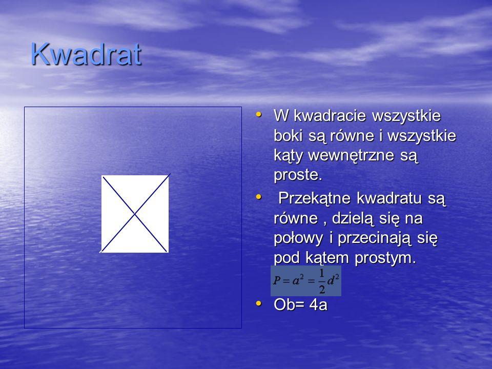 Kwadrat W kwadracie wszystkie boki są równe i wszystkie kąty wewnętrzne są proste. W kwadracie wszystkie boki są równe i wszystkie kąty wewnętrzne są