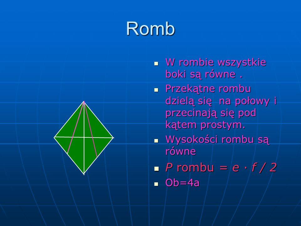 Romb W rombie wszystkie boki są równe. W rombie wszystkie boki są równe. Przekątne rombu dzielą się na połowy i przecinają się pod kątem prostym. Prze