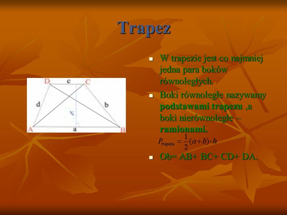 Trapez W trapezie jest co najmniej jedna para boków równoległych. W trapezie jest co najmniej jedna para boków równoległych. Boki równoległe nazywamy