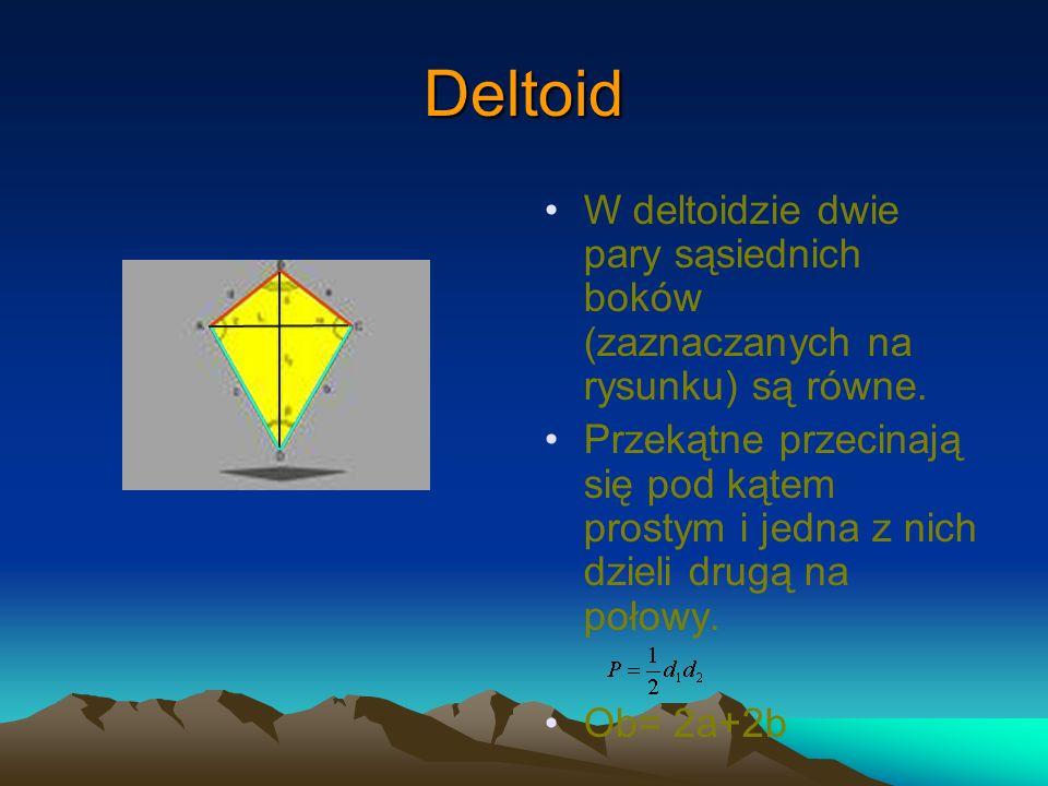 Deltoid W deltoidzie dwie pary sąsiednich boków (zaznaczanych na rysunku) są równe. Przekątne przecinają się pod kątem prostym i jedna z nich dzieli d