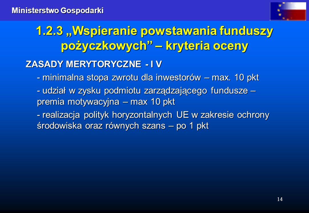 Ministerstwo Gospodarki Ministerstwo Gospodarki 14 1.2.3 Wspieranie powstawania funduszy pożyczkowych – kryteria oceny ZASADY MERYTORYCZNE - I V - minimalna stopa zwrotu dla inwestorów – max.