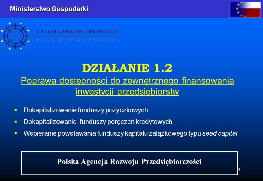 Ministerstwo Gospodarki Ministerstwo Gospodarki 4 Dokapitalizowanie funduszy pożyczkowych Dokapitalizowanie funduszy poręczeń kredytowych Wspieranie powstawania funduszy kapitału zalążkowego typu seed capital DZIAŁANIE 1.2 Poprawa dostępności do zewnętrznego finansowania inwestycji przedsiębiorstw Polska Agencja Rozwoju Przedsiębiorczości