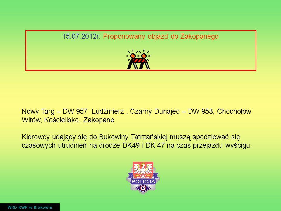 15.07.2012r. Proponowany objazd do Zakopanego WRD KWP w Krakowie Nowy Targ – DW 957 Ludźmierz, Czarny Dunajec – DW 958, Chochołów Witów, Kościelisko,