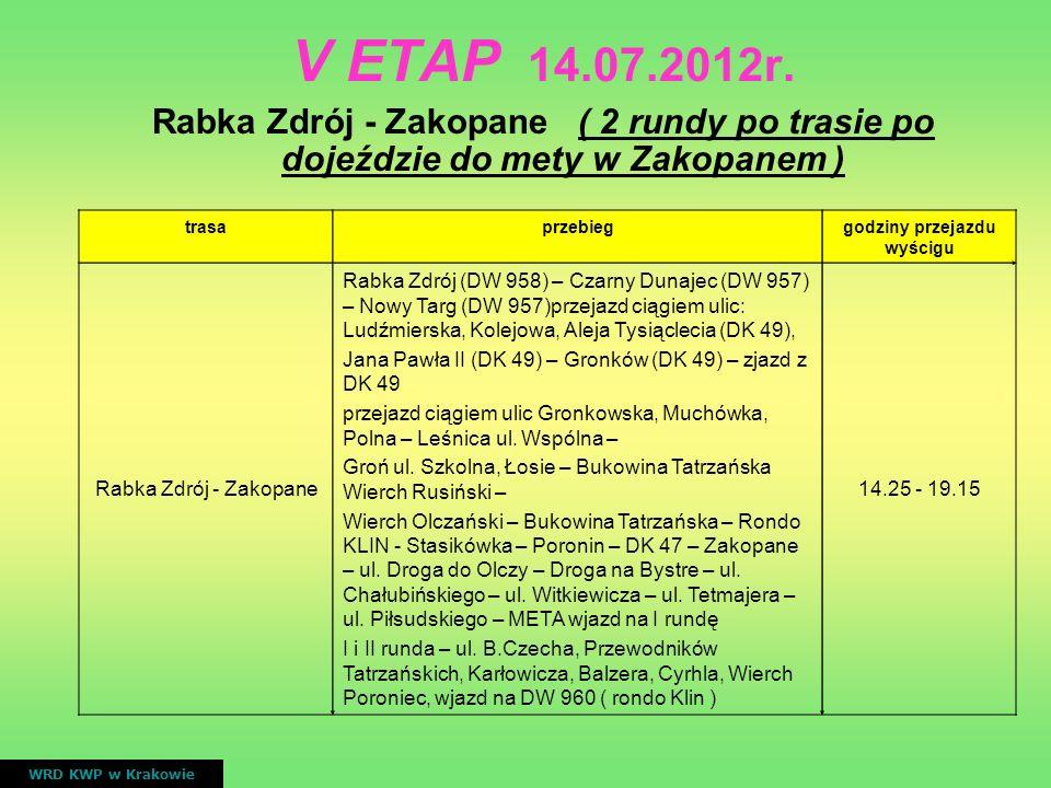 V ETAP 14.07.2012r. Rabka Zdrój - Zakopane ( 2 rundy po trasie po dojeździe do mety w Zakopanem ) WRD KWP w Krakowie trasaprzebieggodziny przejazdu wy