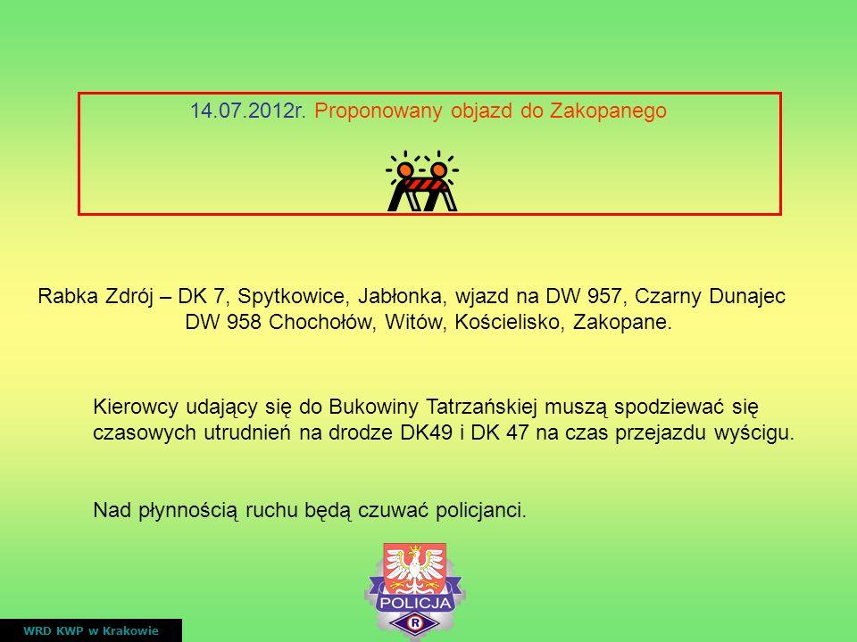 14.07.2012r. Proponowany objazd do Zakopanego WRD KWP w Krakowie Rabka Zdrój – DK 7, Spytkowice, Jabłonka, wjazd na DW 957, Czarny Dunajec DW 958 Choc