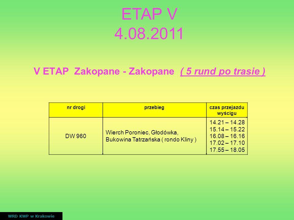 V ETAP Zakopane - Zakopane ( 5 rund po trasie ) WRD KWP w Krakowie nr drogiprzebiegczas przejazdu wyścigu DW 960 Wierch Poroniec, Głodówka, Bukowina T