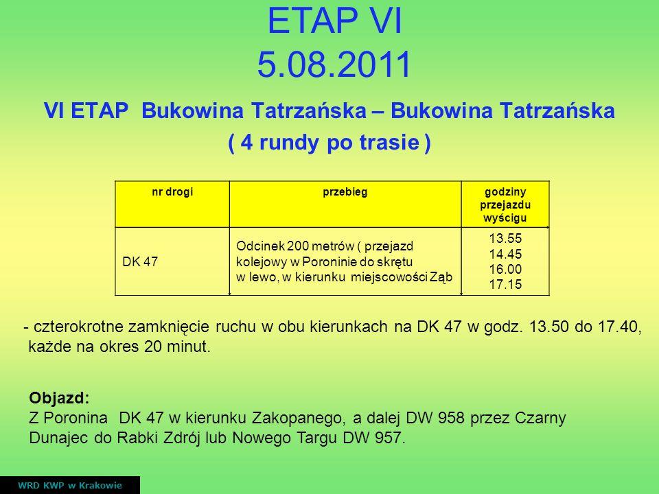 VI ETAP Bukowina Tatrzańska – Bukowina Tatrzańska ( 4 rundy po trasie ) WRD KWP w Krakowie nr drogiprzebieggodziny przejazdu wyścigu DK 47 Odcinek 200