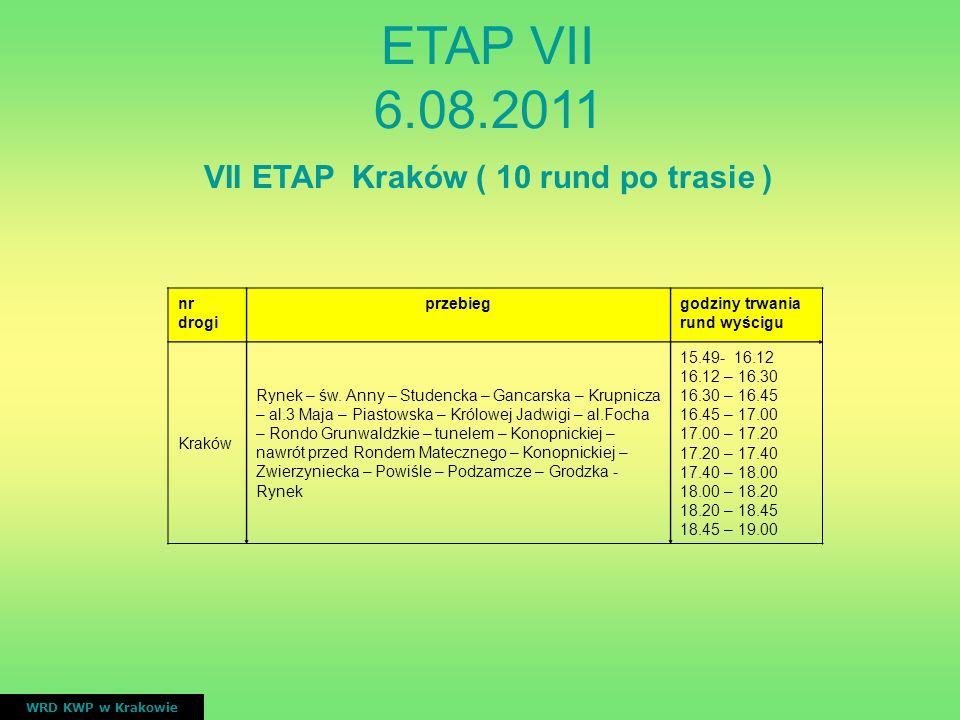 VII ETAP Kraków ( 10 rund po trasie ) nr drogi przebieggodziny trwania rund wyścigu Kraków Rynek – św. Anny – Studencka – Gancarska – Krupnicza – al.3