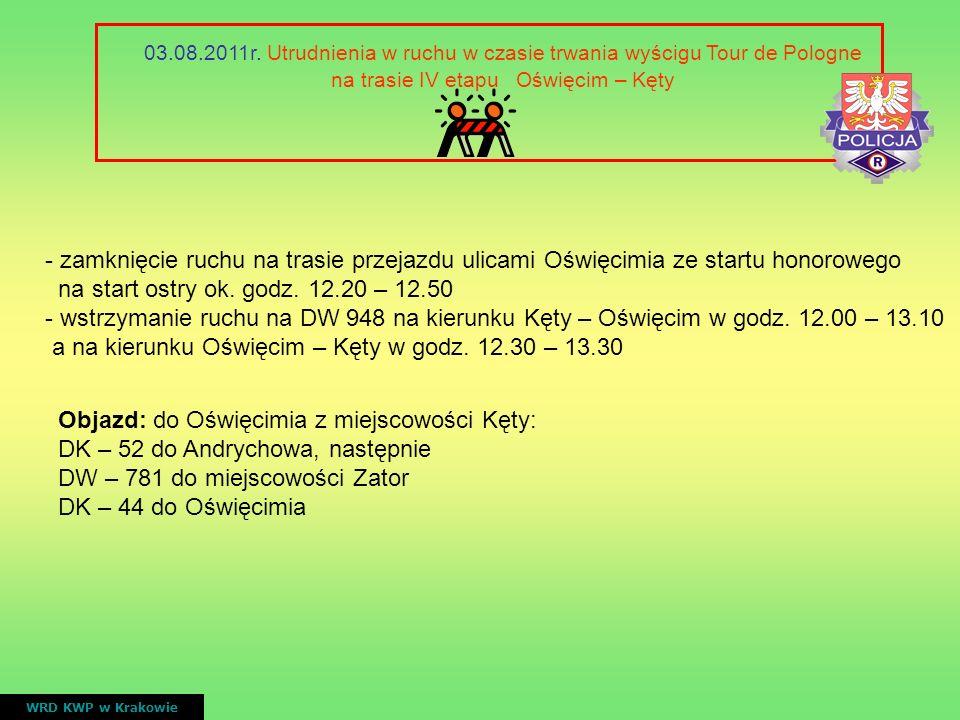 VI ETAP Bukowina Tatrzańska – Bukowina Tatrzańska ( 4 rundy po trasie ) WRD KWP w Krakowie nr drogiprzebieggodziny przejazdu wyścigu DW 960 Od skrzyżowania z DK 49 do ronda Kliny w Bukowinie Tatrzańskiej 14.35 – 14.40 15.50 – 16.00 17.00 – 17.25 18.20 – 18.45 ETAP VI 5.08.2011 - zamknięcie ruchu na DW 960 w godz.