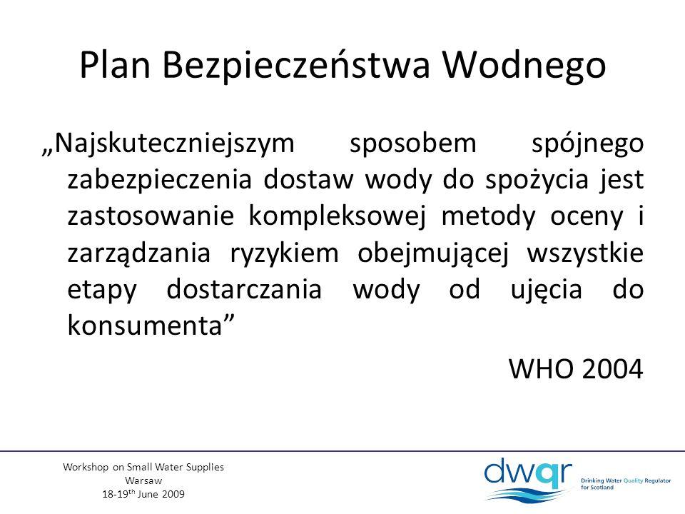 Workshop on Small Water Supplies Warsaw 18-19 th June 2009 Plan Bezpieczeństwa Wodnego Najskuteczniejszym sposobem spójnego zabezpieczenia dostaw wody do spożycia jest zastosowanie kompleksowej metody oceny i zarządzania ryzykiem obejmującej wszystkie etapy dostarczania wody od ujęcia do konsumenta WHO 2004
