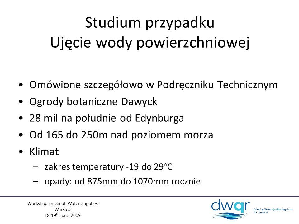 Workshop on Small Water Supplies Warsaw 18-19 th June 2009 Studium przypadku Ujęcie wody powierzchniowej Omówione szczegółowo w Podręczniku Technicznym Ogrody botaniczne Dawyck 28 mil na południe od Edynburga Od 165 do 250m nad poziomem morza Klimat – zakres temperatury -19 do 29 o C – opady: od 875mm do 1070mm rocznie
