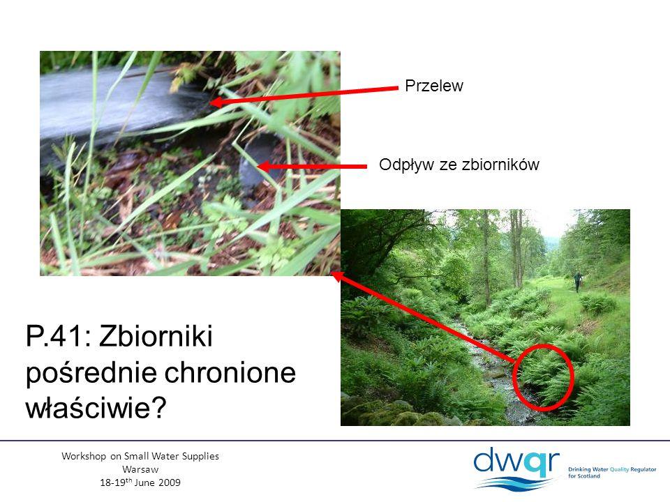 Workshop on Small Water Supplies Warsaw 18-19 th June 2009 Przelew Odpływ ze zbiorników P.41: Zbiorniki pośrednie chronione właściwie