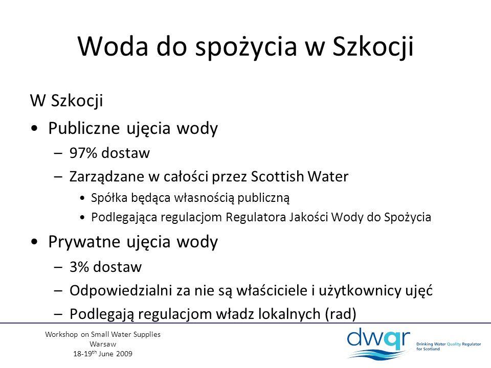 Workshop on Small Water Supplies Warsaw 18-19 th June 2009 Woda do spożycia w Szkocji W Szkocji Publiczne ujęcia wody –97% dostaw –Zarządzane w całości przez Scottish Water Spółka będąca własnością publiczną Podlegająca regulacjom Regulatora Jakości Wody do Spożycia Prywatne ujęcia wody –3% dostaw –Odpowiedzialni za nie są właściciele i użytkownicy ujęć –Podlegają regulacjom władz lokalnych (rad)