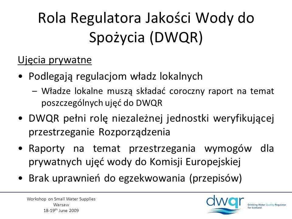 Workshop on Small Water Supplies Warsaw 18-19 th June 2009 Rola Regulatora Jakości Wody do Spożycia (DWQR) Ujęcia prywatne Podlegają regulacjom władz lokalnych –Władze lokalne muszą składać coroczny raport na temat poszczególnych ujęć do DWQR DWQR pełni rolę niezależnej jednostki weryfikującej przestrzeganie Rozporządzenia Raporty na temat przestrzegania wymogów dla prywatnych ujęć wody do Komisji Europejskiej Brak uprawnień do egzekwowania (przepisów)