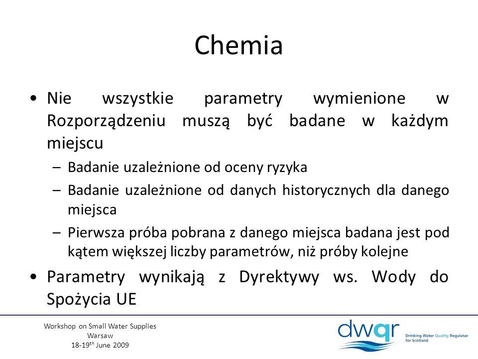 Workshop on Small Water Supplies Warsaw 18-19 th June 2009 Chemia Nie wszystkie parametry wymienione w Rozporządzeniu muszą być badane w każdym miejscu –Badanie uzależnione od oceny ryzyka –Badanie uzależnione od danych historycznych dla danego miejsca –Pierwsza próba pobrana z danego miejsca badana jest pod kątem większej liczby parametrów, niż próby kolejne Parametry wynikają z Dyrektywy ws.