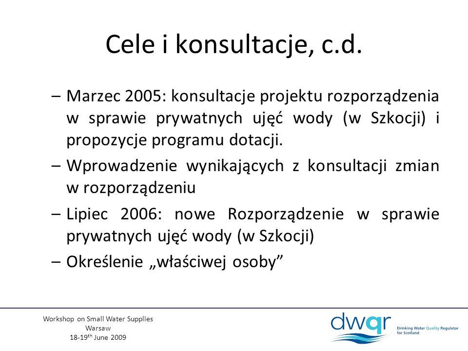Workshop on Small Water Supplies Warsaw 18-19 th June 2009 Dotacje Rząd Szkocji stworzył system dotacji – pomocy finansowej –Dla zachęcenia do ulepszenia prywatnych ujęć wody –Dostępny dla ujęć domowych i komercyjnych Maksymalna dostępna dotacja: £800 (~910) Jeżeli z jednego ujęcia zaopatrywane jest więcej gospodarstw domowych / podmiotów, wszystkie mogą ubiegać się o dotację