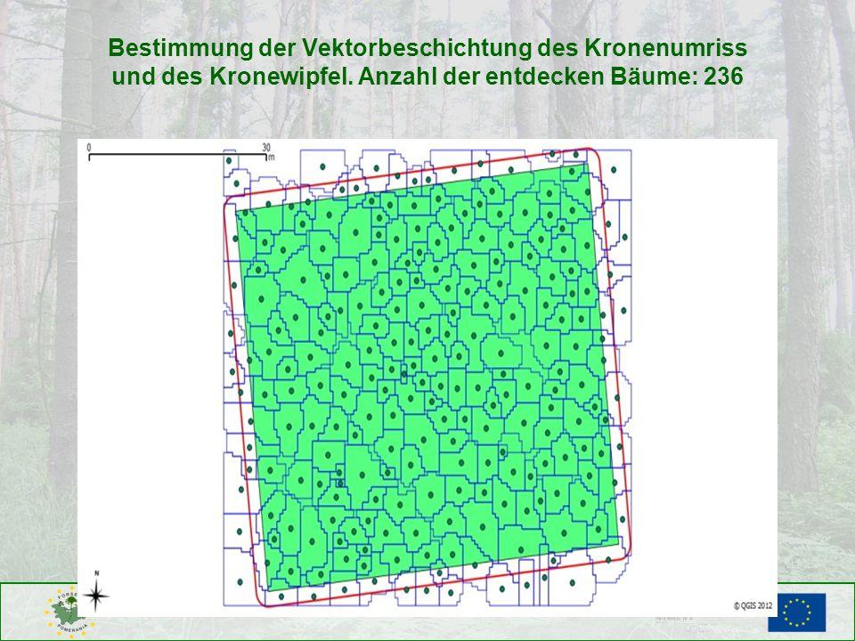 Bestimmung der Vektorbeschichtung des Kronenumriss und des Kronewipfel. Anzahl der entdecken Bäume: 236