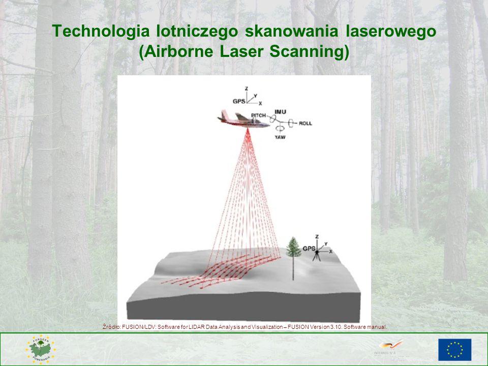 Technologia lotniczego skanowania laserowego (Airborne Laser Scanning) Źródło: FUSION/LDV: Software for LIDAR Data Analysis and Visualization – FUSION