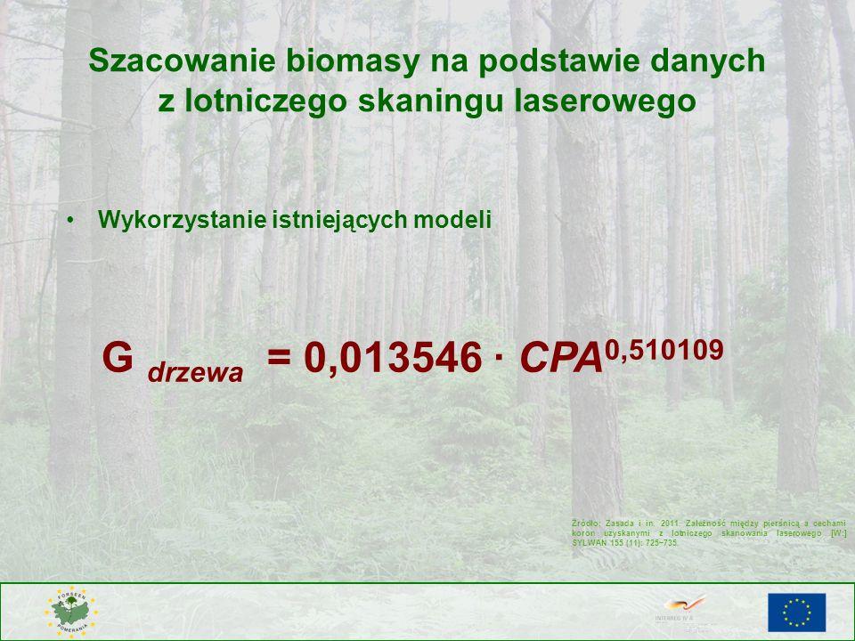 Szacowanie biomasy na podstawie danych z lotniczego skaningu laserowego G drzewa = 0,013546 CPA 0,510109 Źródło: Zasada i in. 2011. Zależność między p