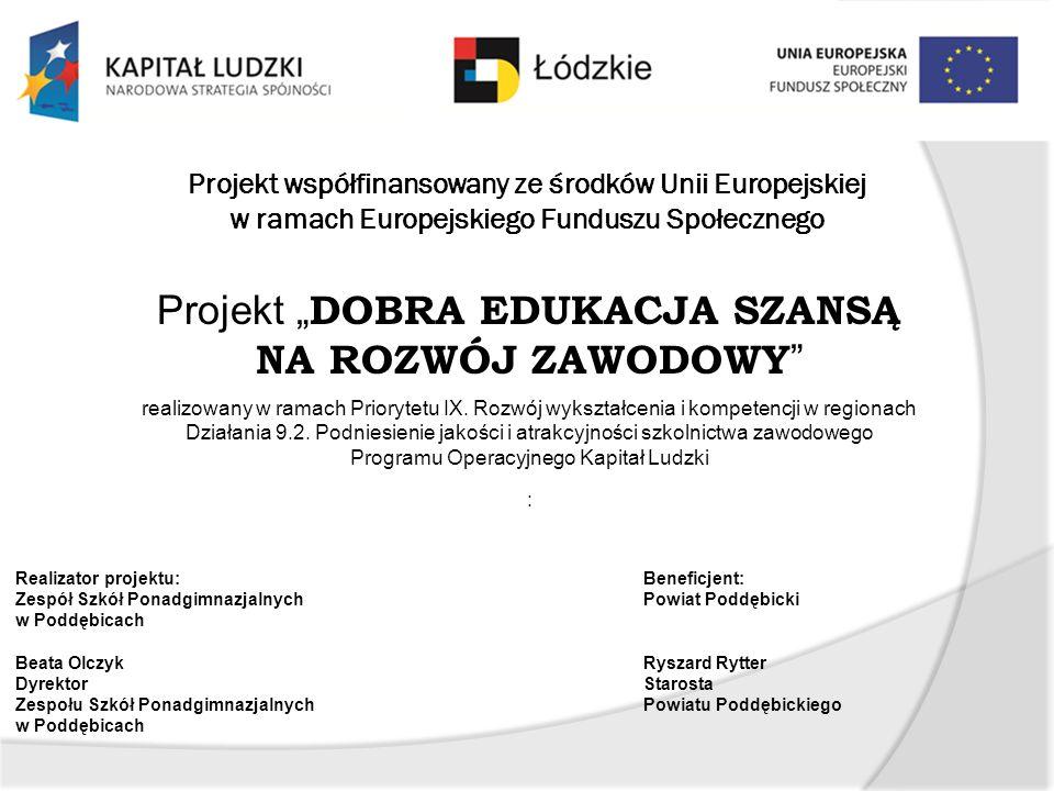 Budżet projektu: 1 498 570,00 PLN w tym: Kwota dofinansowania: 1 307 502,32 PLN Wkład własny niepieniężny: 191 067,68 PLN Czas realizacji projektu: 01.09.