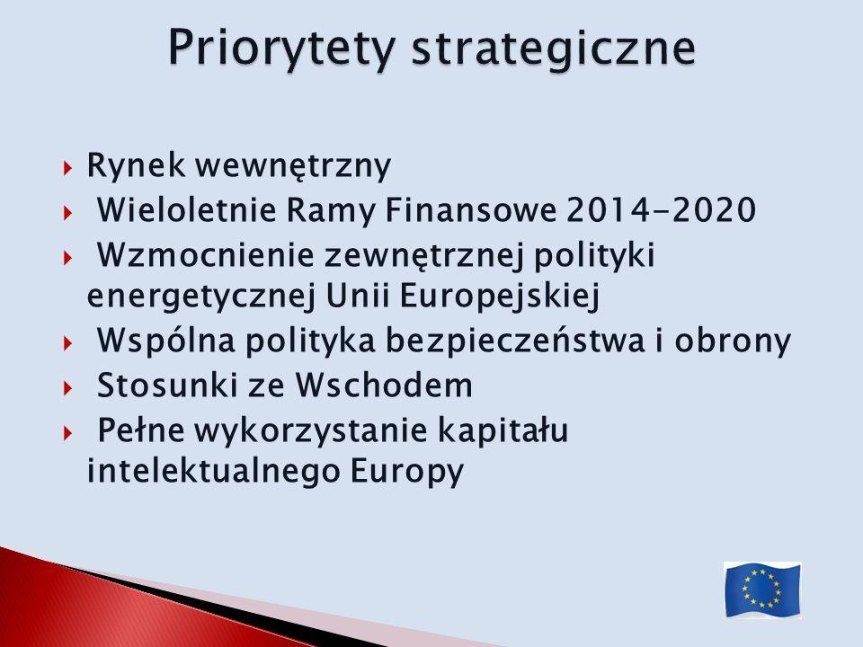 Rynek wewnętrzny Wieloletnie Ramy Finansowe 2014-2020 Wzmocnienie zewnętrznej polityki energetycznej Unii Europejskiej Wspólna polityka bezpieczeństwa