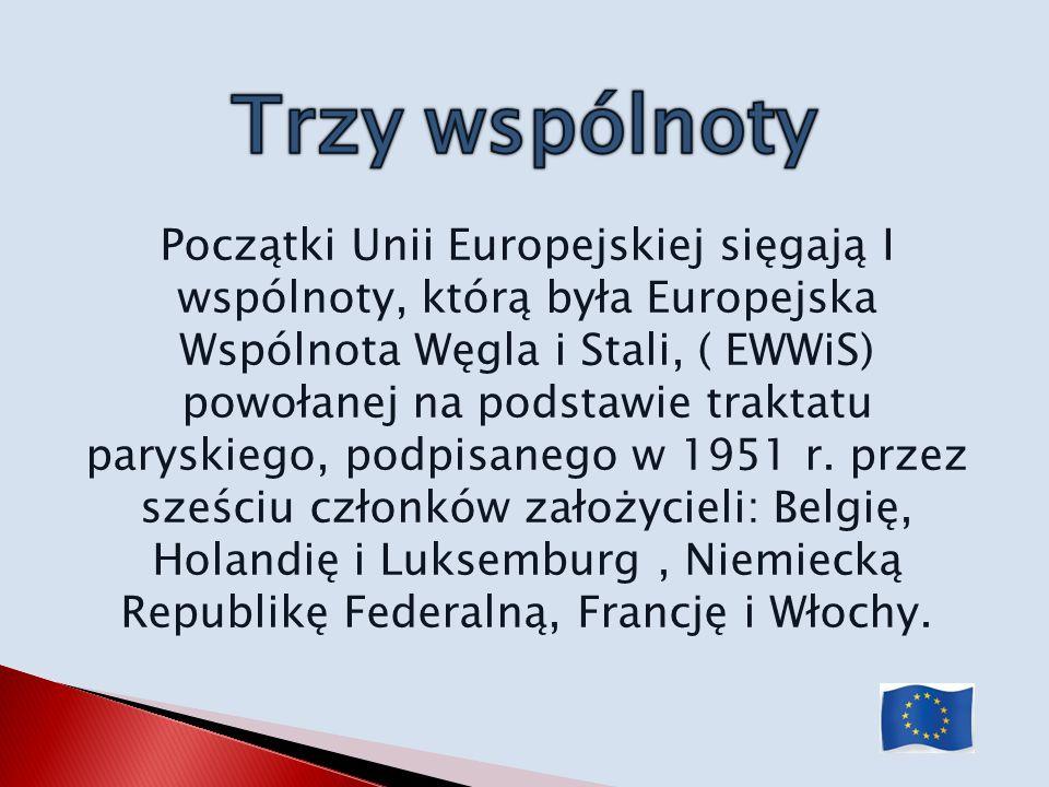Początki Unii Europejskiej sięgają I wspólnoty, którą była Europejska Wspólnota Węgla i Stali, ( EWWiS) powołanej na podstawie traktatu paryskiego, po