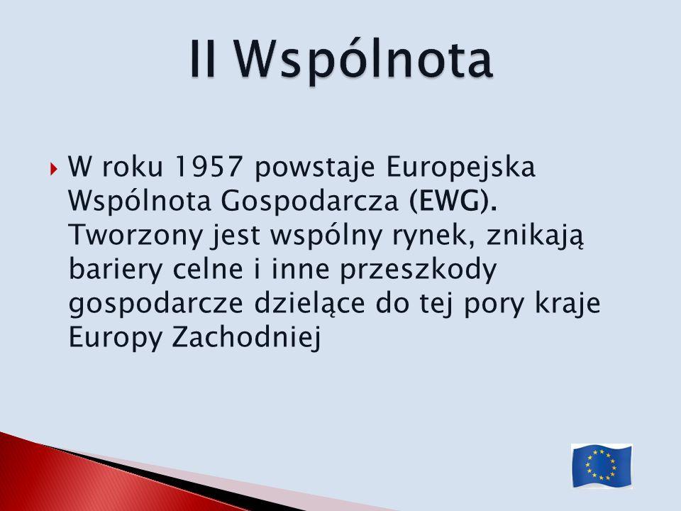W roku 1957 powstaje Europejska Wspólnota Gospodarcza (EWG). Tworzony jest wspólny rynek, znikają bariery celne i inne przeszkody gospodarcze dzielące