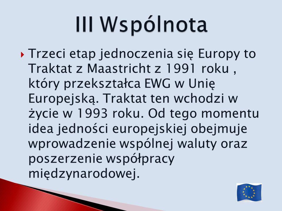 Trzeci etap jednoczenia się Europy to Traktat z Maastricht z 1991 roku, który przekształca EWG w Unię Europejską. Traktat ten wchodzi w życie w 1993 r