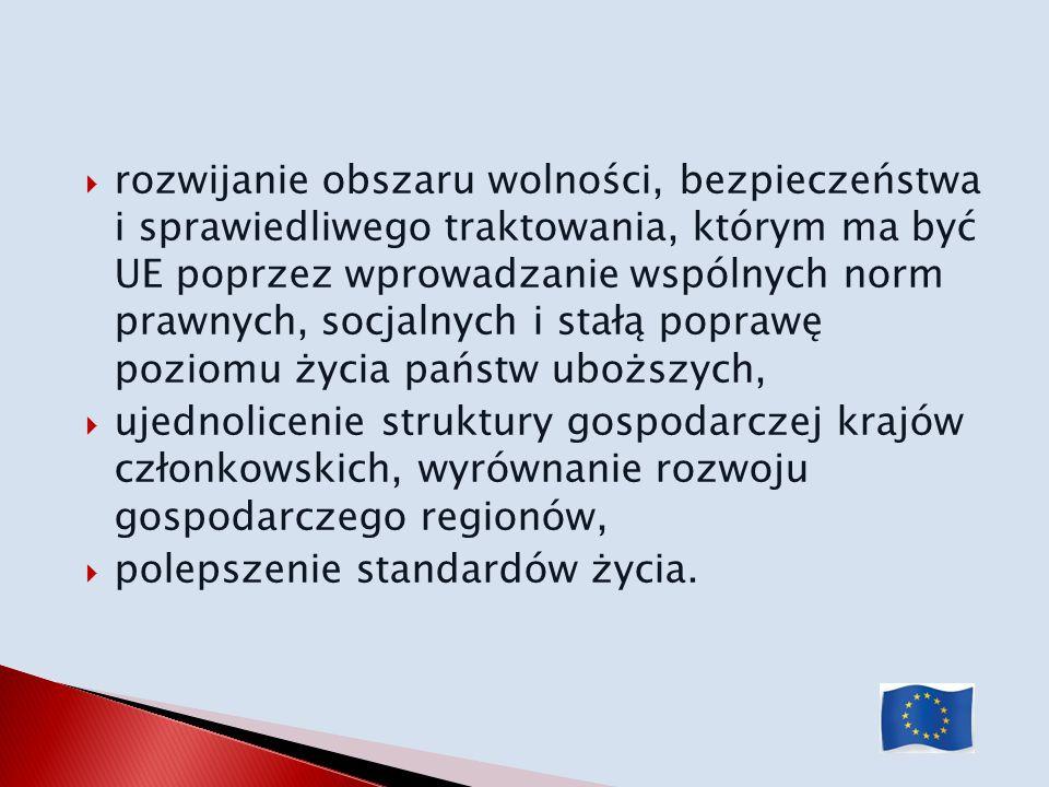 rozwijanie obszaru wolności, bezpieczeństwa i sprawiedliwego traktowania, którym ma być UE poprzez wprowadzanie wspólnych norm prawnych, socjalnych i