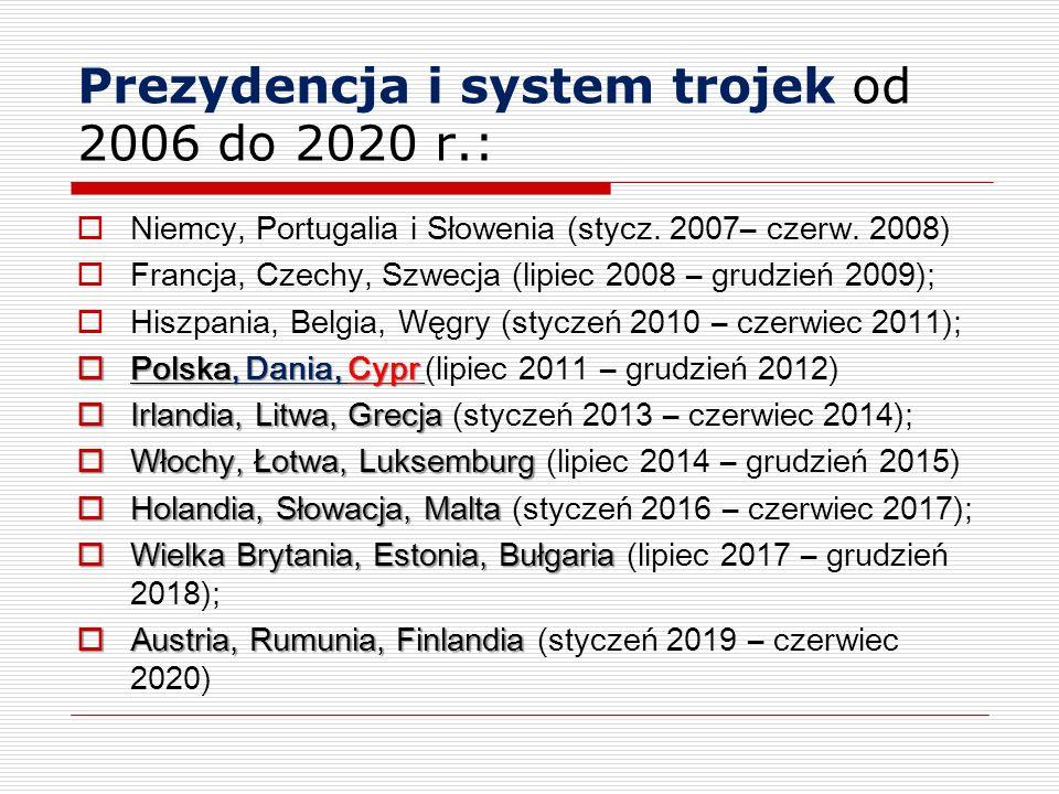 Prezydencja i system trojek od 2006 do 2020 r.: Niemcy, Portugalia i Słowenia (stycz. 2007– czerw. 2008) Francja, Czechy, Szwecja (lipiec 2008 – grudz