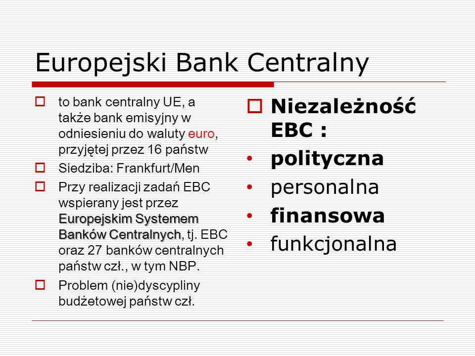Europejski Bank Centralny to bank centralny UE, a także bank emisyjny w odniesieniu do waluty euro, przyjętej przez 16 państw Siedziba: Frankfurt/Men