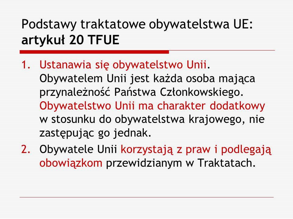 Podstawy traktatowe obywatelstwa UE: artykuł 20 TFUE 1.Ustanawia się obywatelstwo Unii. Obywatelem Unii jest każda osoba mająca przynależność Państwa