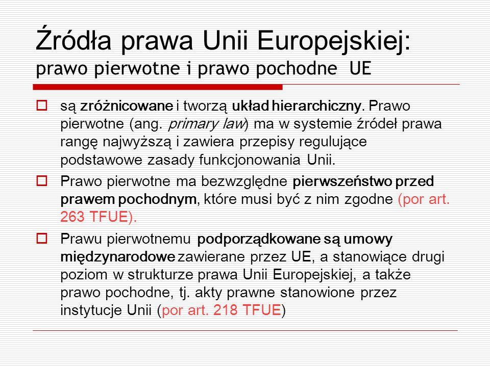 Źródła prawa Unii Europejskiej: prawo pierwotne i prawo pochodne UE są zróżnicowane i tworzą układ hierarchiczny. Prawo pierwotne (ang. primary law) m
