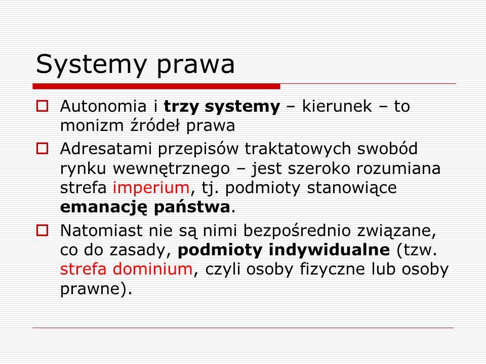 Systemy prawa Autonomia i trzy systemy – kierunek – to monizm źródeł prawa Adresatami przepisów traktatowych swobód rynku wewnętrznego – jest szeroko