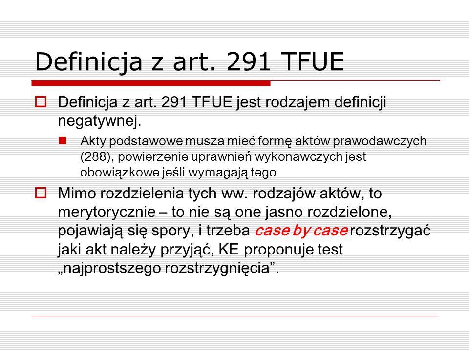 Definicja z art. 291 TFUE Definicja z art. 291 TFUE jest rodzajem definicji negatywnej. Akty podstawowe musza mieć formę aktów prawodawczych (288), po